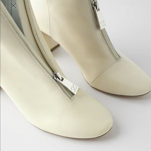 Zara soft leather high heeled ankle boots.